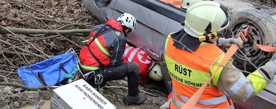 Zusammenarbeit  Feuerwehr - Rotes Kreuz - Bergrettung
